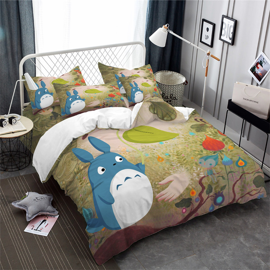 Cute Cartoon Totoro Bedding Set Colorful Scenery Plant Print Duvet Cover Set Kids Lovely Bed Cover Pillowcase Home Decor 3pcs