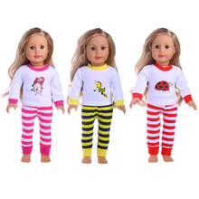 3 styles Super cute fashion striped pants + Logo pattern shirt for 18inch American girl doll hot