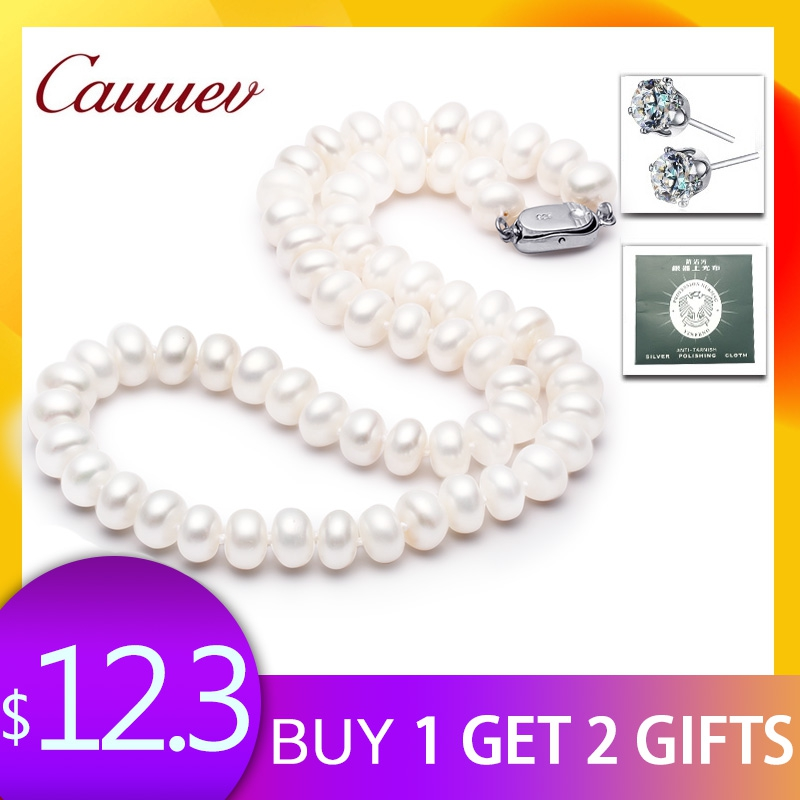 Cauuev prix incroyable AAAA haute qualité naturel collier de perles d'eau douce pour les femmes 3 colors8-9mm perle bijoux pendentifs cadeau