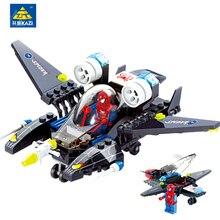KAZI Super Hero Spiderman Fighter Airplane Building Brick Assemble Block Toys Gift for Kid