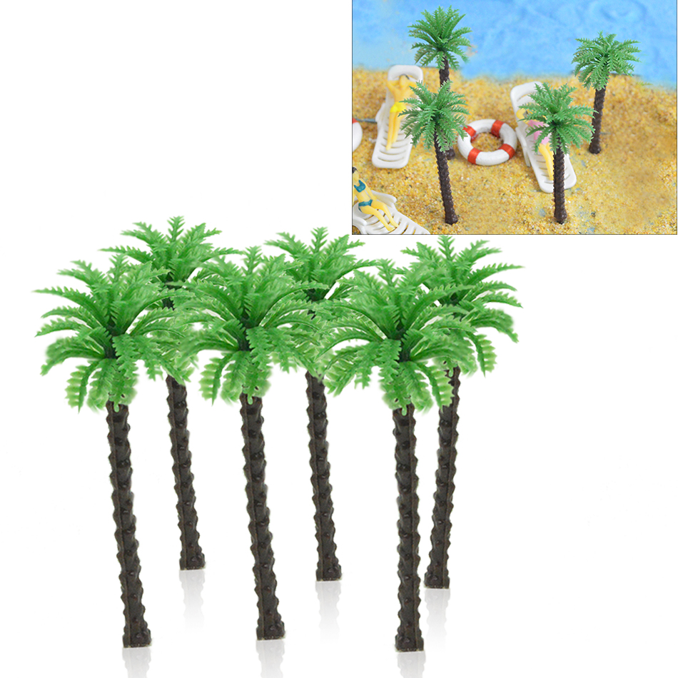 7cm Miniature Architecture DIY Plastic Coconut Palm Green Tree Trunk Landscape Model Scale For Sea Scenery Toys Layout Making