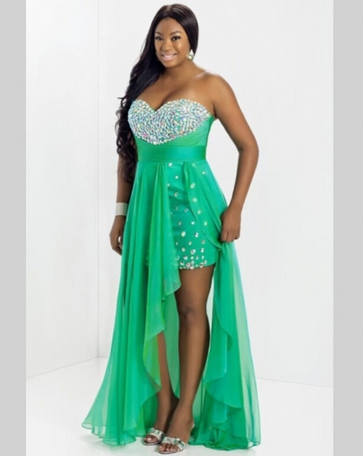80036556274 Short Front Long Back High Low 2 Two Piece Plus Size Prom Dresses Beaded  Crystal gala jurken vestidos de noche ballkleider