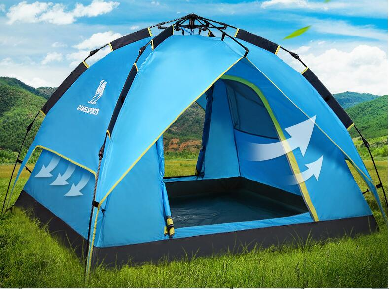 3-4 people automatically outdoor tent camping tent double rainproof