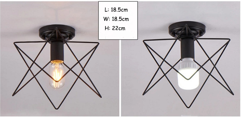 Modern nordic black wrought iron E27 led ceiling lamps for kitchen living room bedroom study balcony porch restaurant cafe hotel