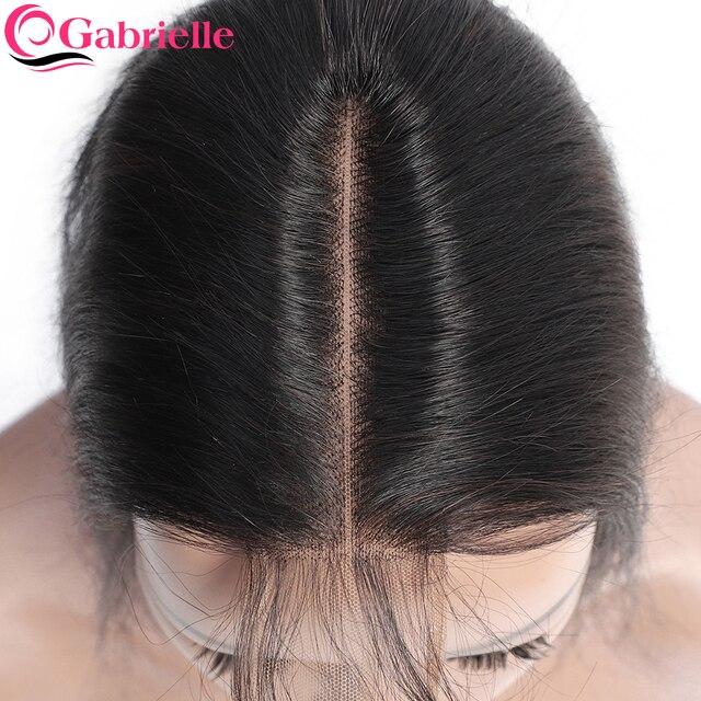 Gabrielle 2x6 Rendas Fechamento Cabelo Onda Do Corpo Brasileiro Parte do Meio com o Cabelo Do Bebê Cor Natural 100% Humano de Remy extensões de cabelo