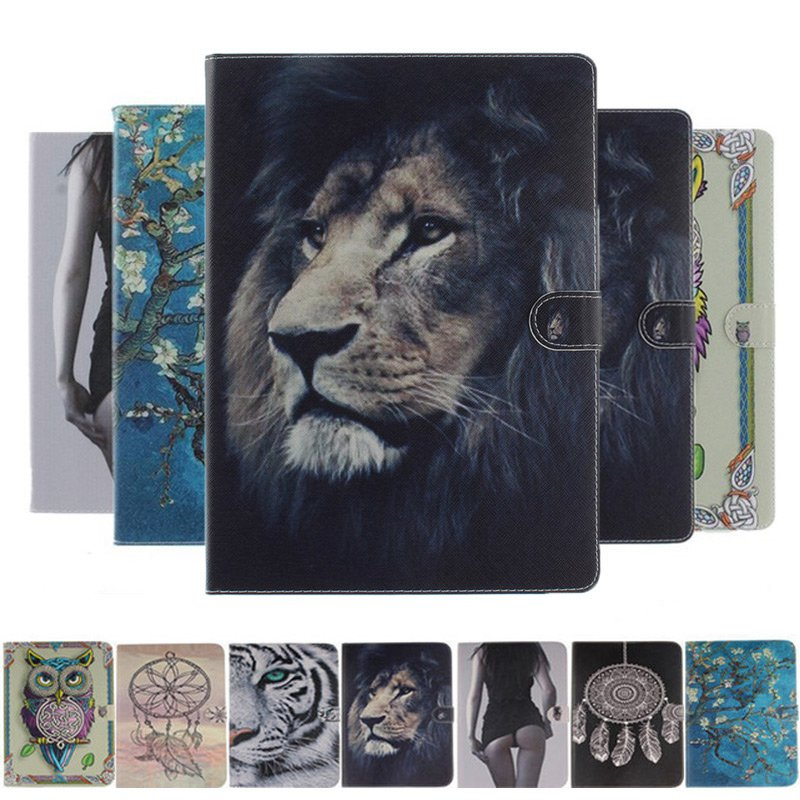 Slim Flip Silicone PU Leather Case For Apple IPad Pro 12.9 2017 2015 Cover Tiger Owl Girls Animal Painting Tablet Case+film+pen