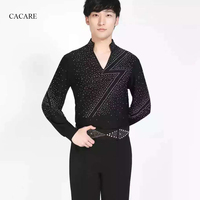 Latin Dance Costumes Men Shirt Pants Set Dance Top Personalized Product D0390 Black with Rhinestones Long Sleeve