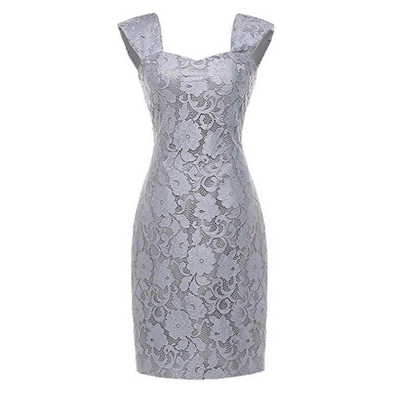 Wipalo 2019 Chiffon de talla grande moda femenina dos piezas encaje hasta la rodilla vestidos elegantes para fiesta vestidos de novia 5XL