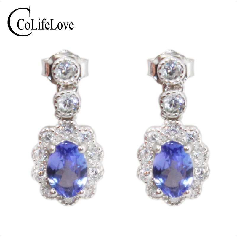 Vintage tanzanite ear drop 2 pcs natural VS grade tanzanite drop earrings solid 925 silver gemstone