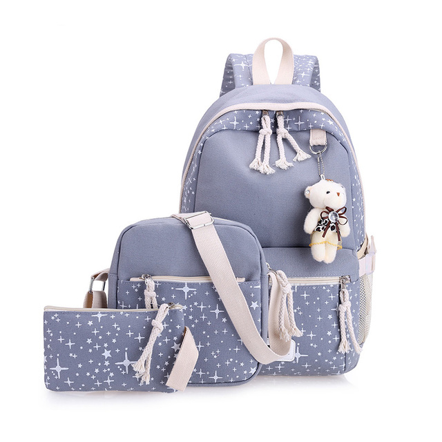 Casual Women Backpacks Canvas Book Bags Preppy Style School Back Bags for Teenage Girls 3