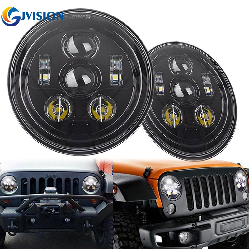 For Jeep Wrangler JK accessories 7'' Round led headlight H4 7inch 45W LED Projector headlights for Land Rover Defender TJ LJ round 7 inch led headlight 7 projector daymaker headlamp high low beam for jeep wrangler jk lj tj land rover defender 90 110