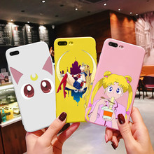 Rosa anime japonês marinheiro lua kawaii gato caso o iphone 6 puls s 7 8 puls 11 12pro x casais macio voltar capa funda coque