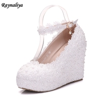 Handmade White Lace High Heeled Shoes Platform Round Flower Bride Wedding Shoes Pearl Diamonds Wedges Pumps Shoes XY A0072