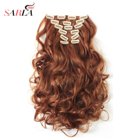 SARLA 20 7pcs Full Head Clip In Hair Extensions Synthetic Hair Extension Heat Resistant Fiber 20