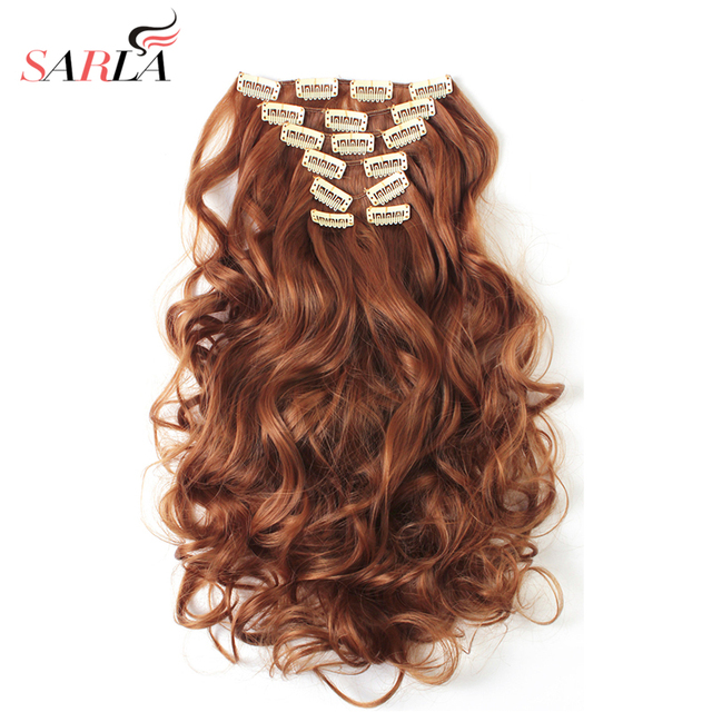 "SARLA 20"" 7pcs Full Head Curly Clip in Hair Extensions Synthetic Hair Extension Heat Resistant Fiber 20 Colors Available 999"