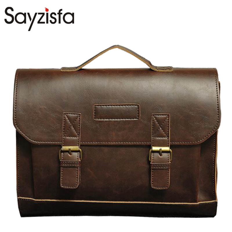 Sayzisfa Men Handbags 2017 New Famous Brand Man Shoulder bags Quality Leather Business Bag Design Tote Male Messenger Bags T238