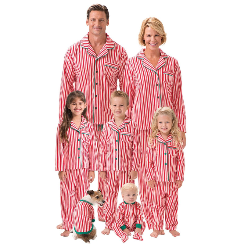 Family Matching Christmas Striped Blouse Pajamas Set Women Men Baby Kids Sleepwear Nightwear