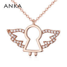ANKA top zircon jewelry gold color cute angel pendant necklace for women fashion angel wing necklace accessories love gift122004 anka luxury rose gold color flower necklace for women top zircon cz pendant necklace fashion jewelry accessories gift 125251