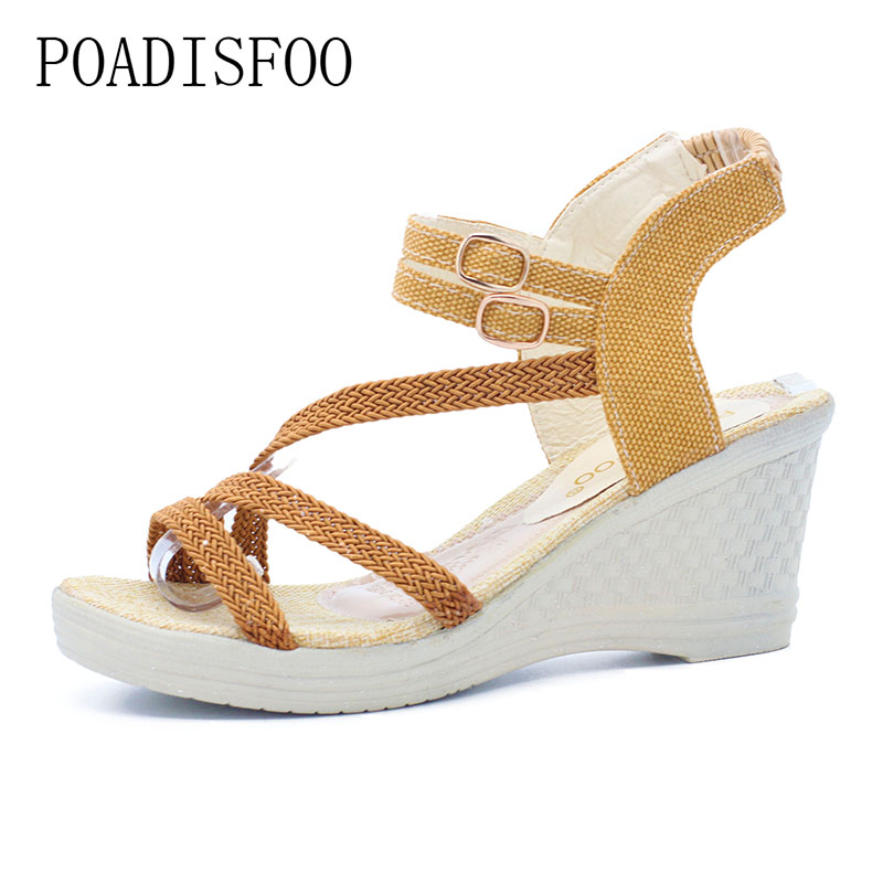 2017 New women sandals  Summer Slope With The Sandals Female Students  high-heeled Shoes High Heeled Shoes .HYKL-6001 qiu dong season with plush slippers female students in the summer of 2017 the new han edition joker fashion wears outside a word
