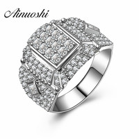 AINUOSHI Wholesale Real 925 Sterling Silver Set CZ Stone Men Big Ring New Classic Zircon Wedding Male Bands Anniversary Gift