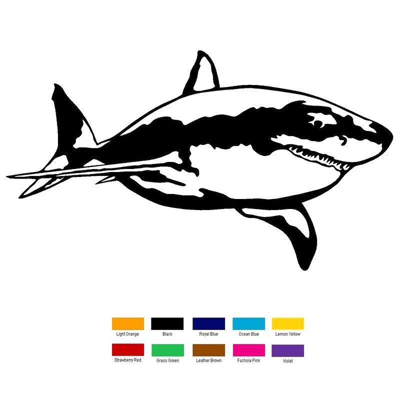 Car- stying 20cm x 10cm Great White Shark Car Sticker For Truck Window Bumper Auto SUV Door Laptop Kayak Vinyl Decal Jdm