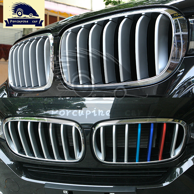 14 pcs Front Grill Cover Trim ABS Chrome Sequins For BMW X5 X6 F16 F15 2014