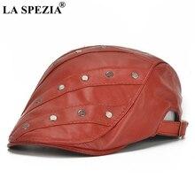 LA SPEZIA Red Flat Caps Berets Men Genuine Leather Duckbill Hats Ivy For Women Rivet Adjustable Fashion Spring Cabbie Caps 2019