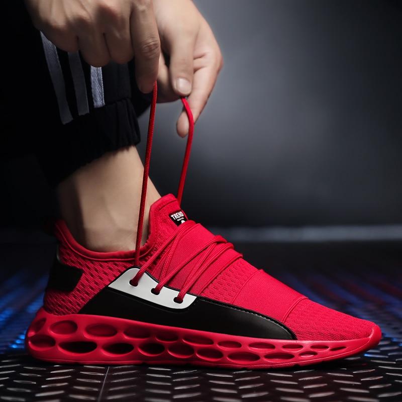 Printemps automne chaussures Sport actif masseur rouge baskets pour hommes chaussures de course en plein air amorti évider chaussures de Sport pour adultes 2018