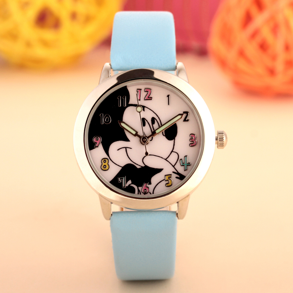 2017 fashion cartoon minnie mickey children watch boy girl student kids watches  PU leather unisex quartz wristwatch clock gifts new arrived hello kitty cartoon watches pu leather girls kids quartz watch student watch mujer relojes rhinestone children clock