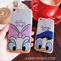Amantes dos desenhos animados do pato donald daisy duck capa glitter para iphone 6 6 s plus Casais funda TPU silicone macio casos de Telefone Coque