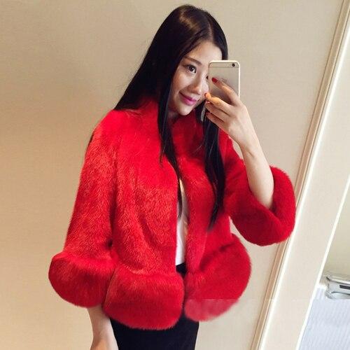 2017 winter new fox fur fur coat ladies Korean version of Slim short paragraph imitation fur