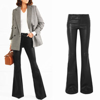 Fashion brand longer length water wash PU leather flare pants female street punk raise hip ws thin leather pants wq209 dropship