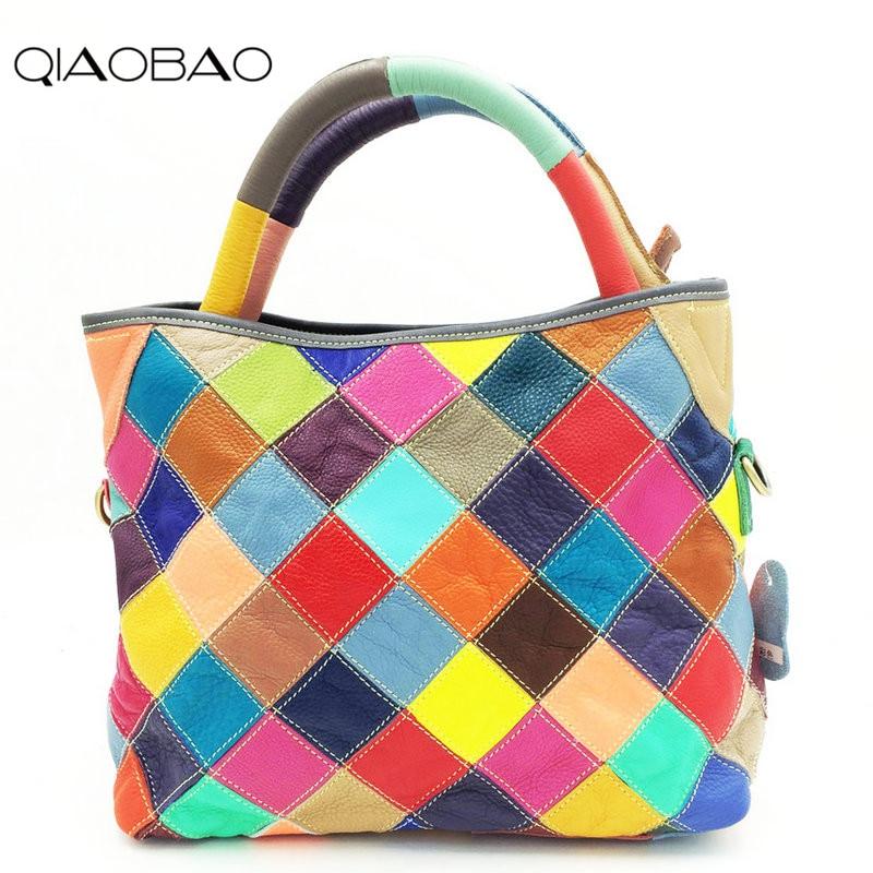 все цены на QIAOBAO 2018 Fashion New 100% Genuine Leather Patchwork Bag Cowhide Bucket Bag Women Shoulder Bag Colorful Handbags