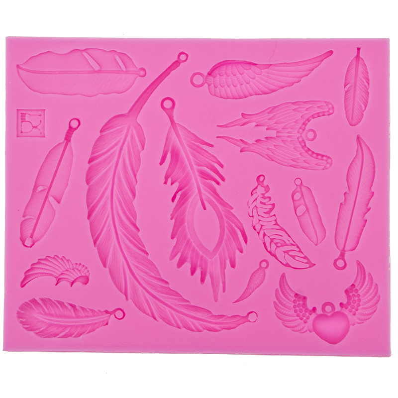 3D Reverse sugar molding Feather and Wings shape silicone mould for polymer clay molds accessories cake decoration tools FT-0522