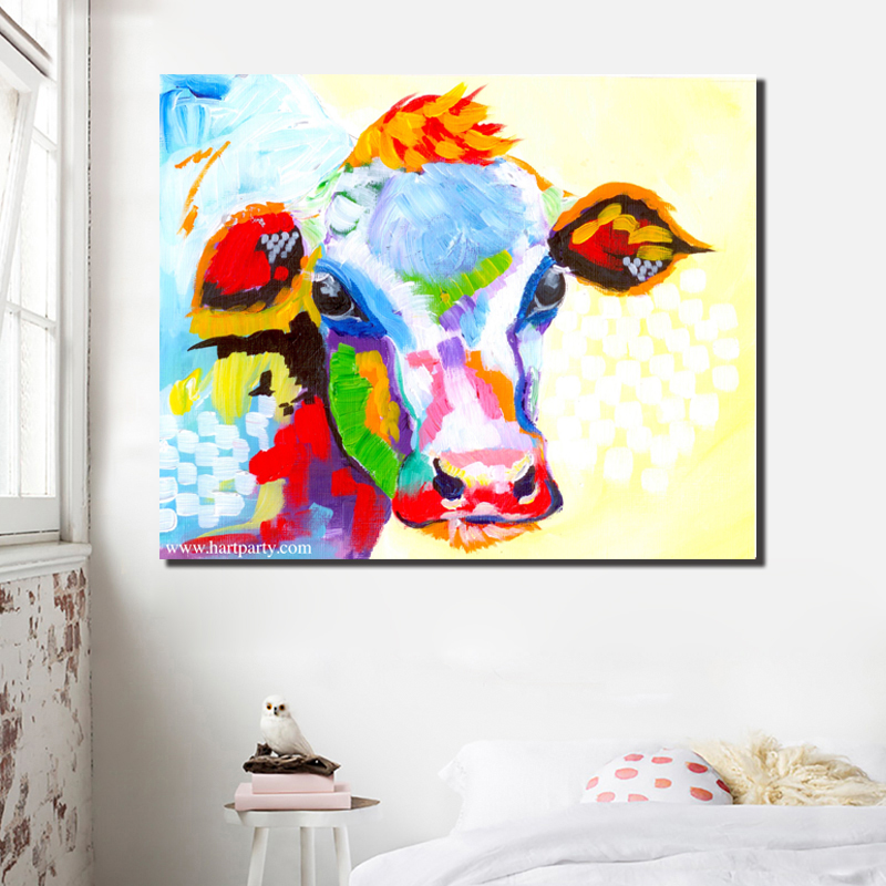 Modern Art Colorful Cow Oil Painting Pop Art Animal Painting For Living Room Posters And Print Decoration Unframed in Painting Calligraphy from Home Garden
