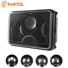 Partol Square LED Headlight High Low Spot Beam DRL Lamp 55W 6000K Waterproof 12V For FREIGHTLINER Peterbilt Rectangular Kenworth(China)