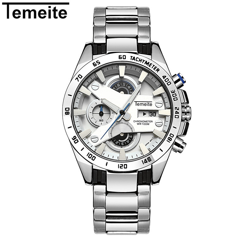 TEMEITE Luxury Mens Watches Men Fashion Male Clock Quartz Watch Men's Sport Full Steel Waterproof Wristwatches Relogio Masculino fashion luxury waterproof analog men sport watch chronograph mens leather watches male clock quartz wristwatch relogio masculino