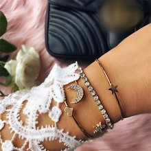 Gold Silver Crystal 4pcs/set Charm Bracelets & Bangles For Women Star Moon Heart Love Bangle Boho Indian Jewelry(China)