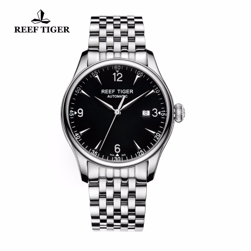 Reef Tiger/RT Classic Business Watches Mens Automatic Watch with Date Stainless Steel Watches Free Shipping RGA823 reef tiger rt business men watch with date stainless steel leather strap waterproof mechanical watches rga823