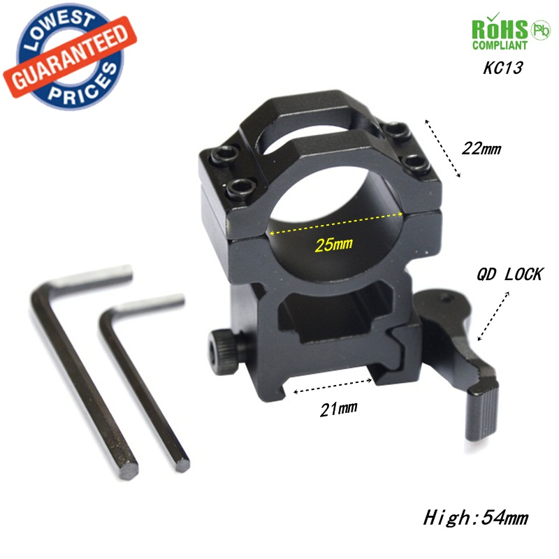 1PC KC13 25 4mm QD Quick Release Scope Flashlight Outdoor Hunting Metal Ring Mount 21mm 20mm