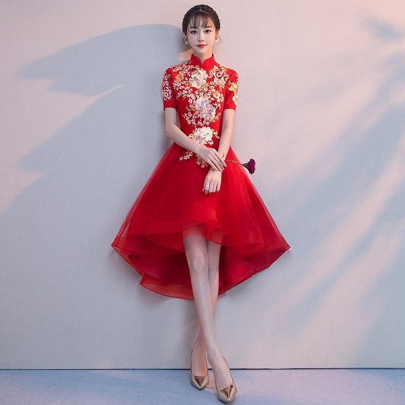 Robe de mariée traditionnelle chinoise rouge améliorée femmes broderie fleur Cheongsam Vestidos élégant Slim Qipao XS-XXL
