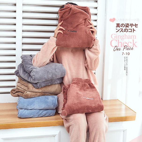 Autumn and Winter Flannel Women Pyjamas Sets Sleepwear Home Clothing Thick Warm Coral Velvet Female Nightgown Suit Pijama 26