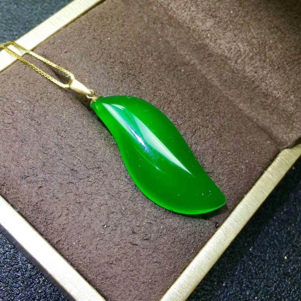 SHILOVEM 18k yellow gold natural green chalcedony pendant none necklace ethnic new wholesale Fine women gift