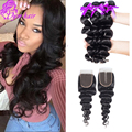 Brazilian Virgin Hair Loose Wave With Closure 4Pcs Human Hair Weave With Closure Brazilian Loose Wave Lace Closure With Bundles