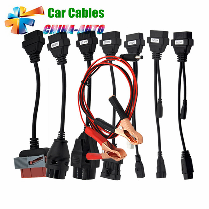5pcs/lot Adapter Cables For TCS CDP Pro OBD2 OBDII Cars Diagnostic Interface Tool Full set 8 Car Cables For CDP Cable  with bluetooth function super tcs cdp pro plus keygen led 3 in1 sn 100251 obdii obd obd2 scanner diagnostic interface cdp pro