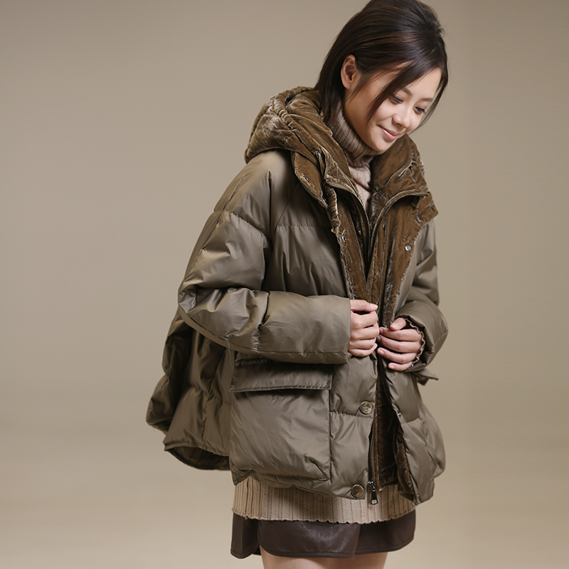 W1927 Literary big size Korean edition false two thick warm bread cotton padded clothes female