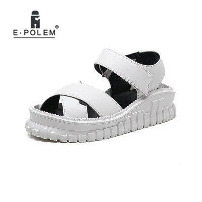Pour Adolescent Punk Plate Wedge Noir forme Croissante Rom Hauteur Blanc blanc Noir En Cuir Femmes Napa Chaussures Motif Filles Sandale Sandales FgFxSnfwq7