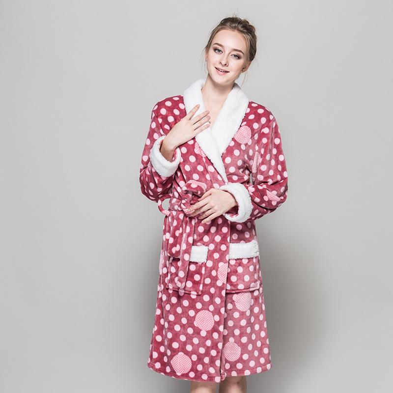 2017 new bath robes sleepwear warm nightwear robe femme flannel nightgown women long sleeve. Black Bedroom Furniture Sets. Home Design Ideas