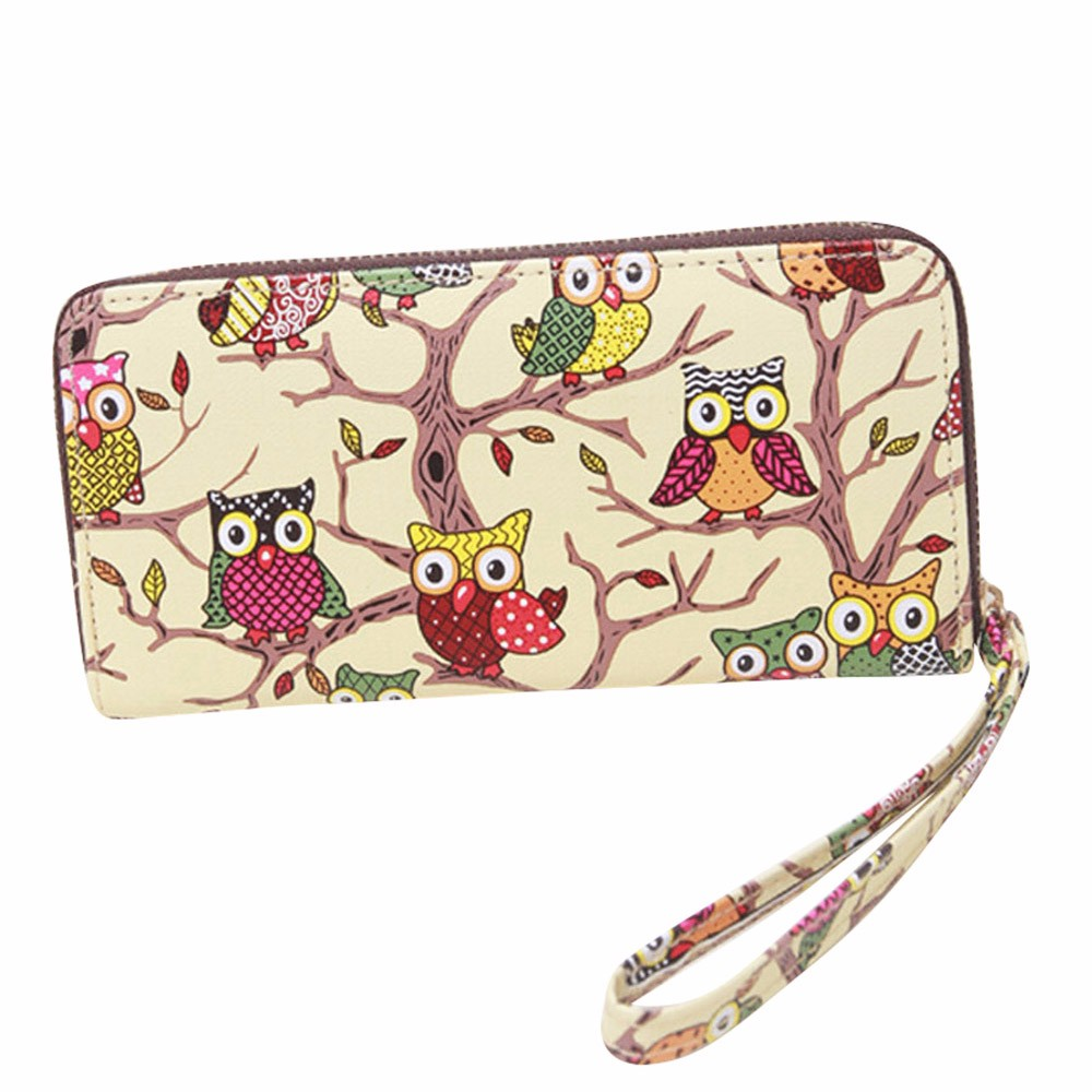 Wallet Women Long Purse Owl Pattern Zipper PU leather Coin Key Card Holders Bag Girls Handbag Carteira Feminina
