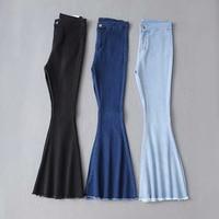2018 Solid Wash Female Boyfriend Jeans For Women Skinny Jeans Woman Blue Black High Waist Jean Denim Flare Wide Leg Jeans Pants
